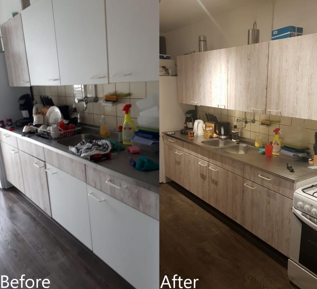 Before & after het wrappen van de keuken