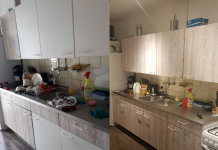 Before & after het wrappen van de keuken