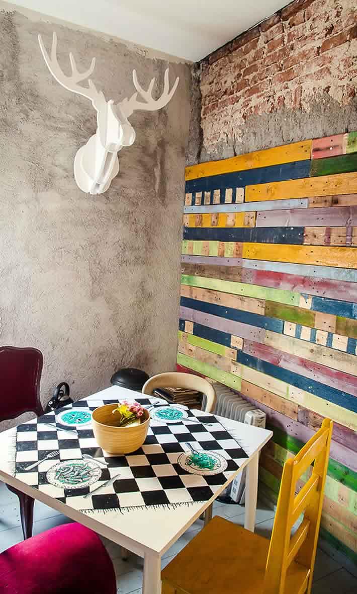 Waterrverf bewerkt hout afval muur.
