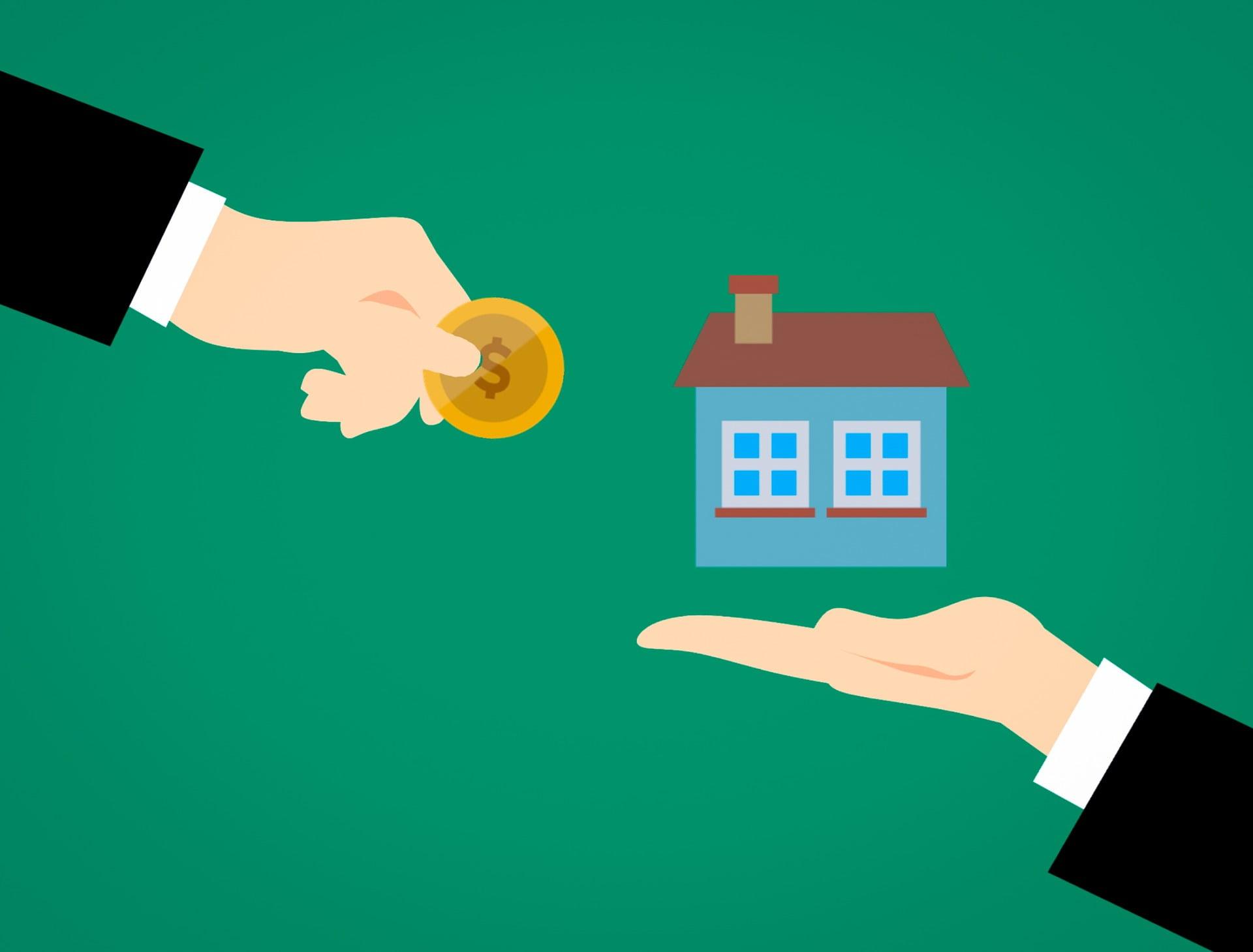 Hand geeft geld aan woning